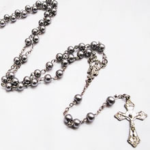 metal beads rosary necklace